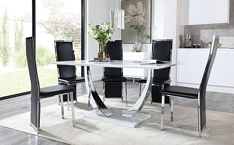 Peake White High Gloss and Chrome Dining Table with 6 Celeste Black Leather and Chrome Chairs