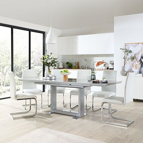 Tokyo Grey High Gloss Extending Dining Table with 6 Perth White Leather Chairs