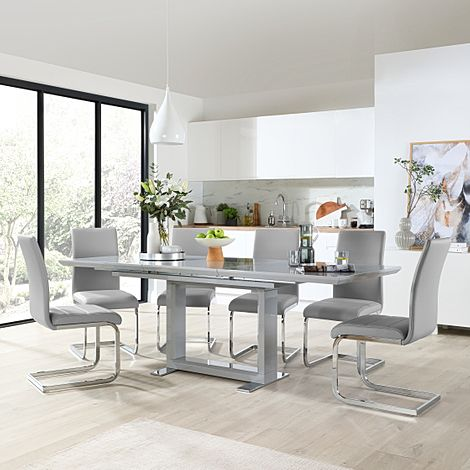 Tokyo Grey High Gloss Extending Dining Table with 6 Perth Light Grey Leather Chairs