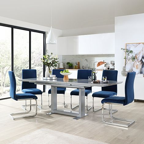 Tokyo Grey High Gloss Extending Dining Table with 6 Perth Blue Velvet Chairs