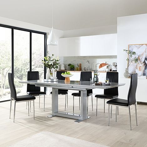 Tokyo Grey High Gloss Extending Dining Table with 6 Leon Black Leather Chairs