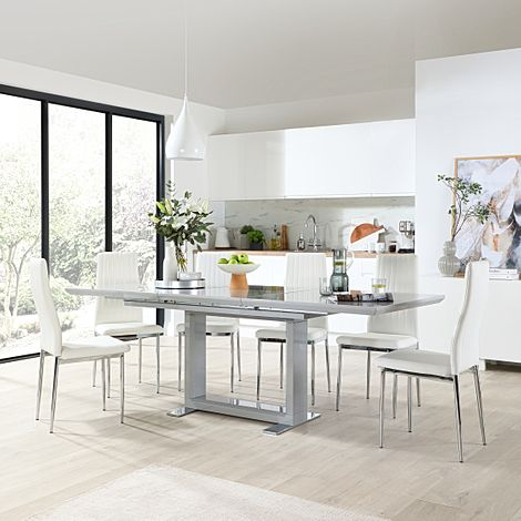 Tokyo Grey High Gloss Extending Dining Table with 4 Leon White Leather Chairs