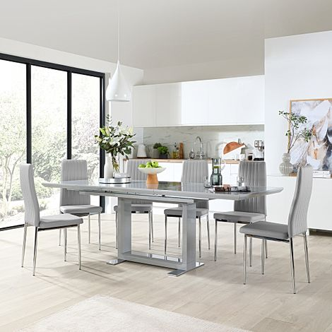 Tokyo Grey High Gloss Extending Dining Table with 6 Leon Light Grey Leather Chairs