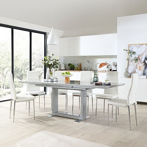 Tokyo Grey High Gloss Extending Dining Table with 8 Renzo White Leather Chairs