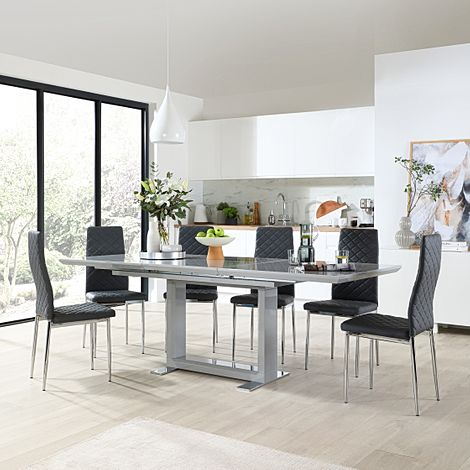 Tokyo Grey High Gloss Extending Dining Table with 6 Renzo Grey Leather Chairs