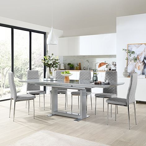 Tokyo Grey High Gloss Extending Dining Table with 6 Renzo Light Grey Leather Chairs