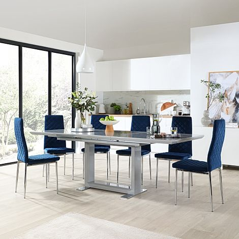 Tokyo Grey High Gloss Extending Dining Table with 8 Renzo Blue Velvet Dining Chair