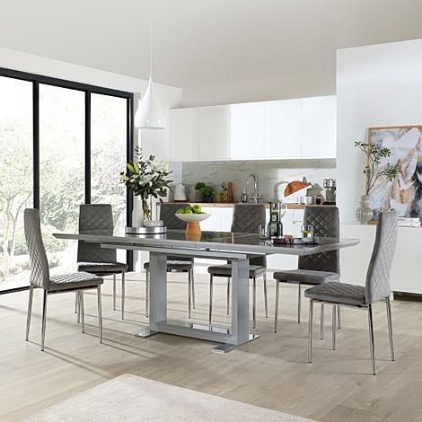 Tokyo Grey High Gloss Extending Dining Table with 6 Renzo Grey Velvet Dining Chair