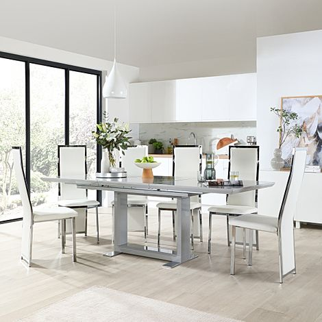 Tokyo Grey High Gloss Extending Dining Table with 6 Celeste White Leather Chairs