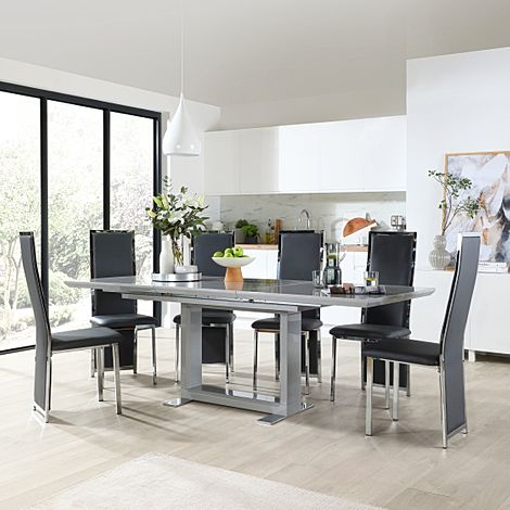 Tokyo Grey High Gloss Extending Dining Table with 6 Celeste Grey Leather Chairs
