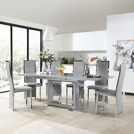 Tokyo Grey High Gloss Extending Dining Table with 6 Celeste Light Grey Leather Chairs