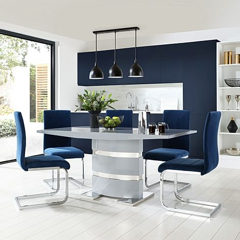 Komoro Grey High Gloss Dining Table with 6 Perth Blue Velvet Chairs
