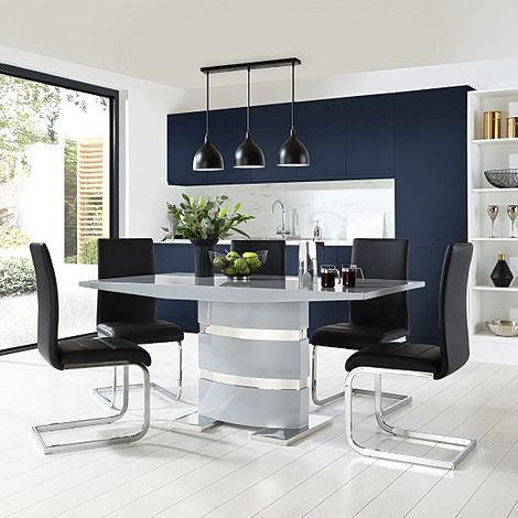 Komoro Grey High Gloss Dining Table with 4 Perth Black Leather Chairs