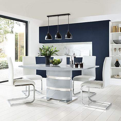 Komoro Grey High Gloss Dining Table with 6 Perth White Leather Chairs