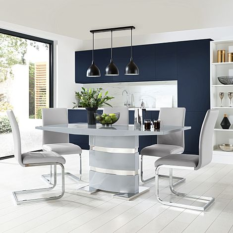 Komoro Grey High Gloss Dining Table with 4 Perth Light Grey Leather Chairs