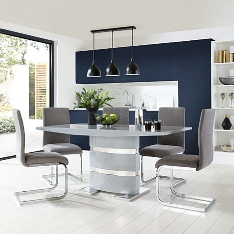 Komoro Grey High Gloss Dining Table with 6 Perth Grey Velvet Chairs