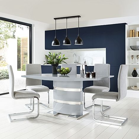 Komoro Grey High Gloss Dining Table with 6 Perth Dove Grey Fabric Chairs