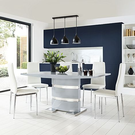 Komoro Grey High Gloss Dining Table with 4 Leon White Leather Chairs