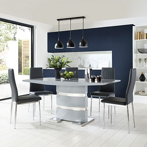 Komoro Grey High Gloss Dining Table with 6 Leon Grey Leather Chairs