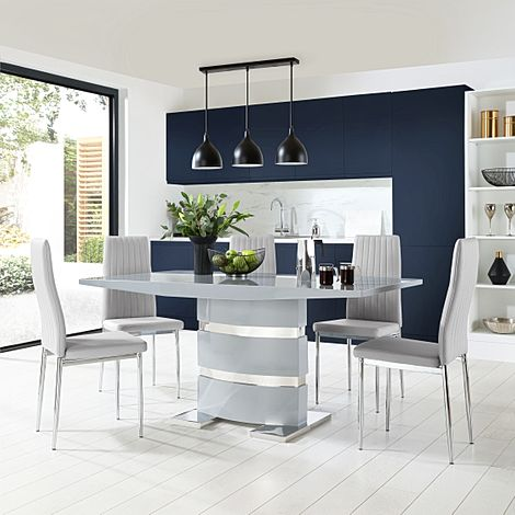 Komoro Grey High Gloss Dining Table with 6 Leon Light Grey Leather Chairs
