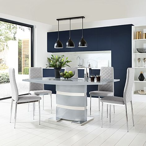 Komoro Grey High Gloss Dining Table with 6 Renzo Light Grey Leather Chairs