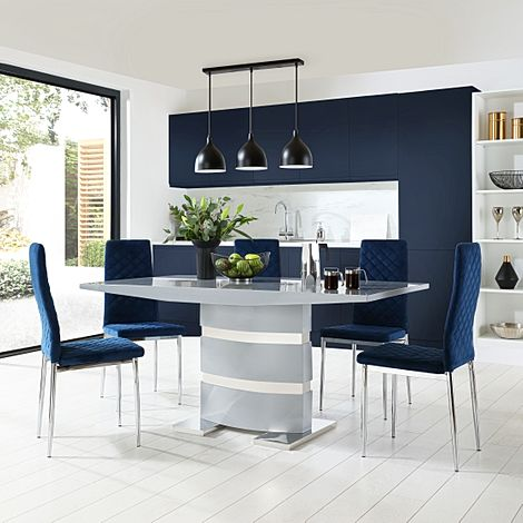 Komoro Grey High Gloss Dining Table with 6 Renzo Blue Velvet Chairs