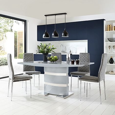Komoro Grey High Gloss Dining Table with 4 Renzo Grey Velvet Chairs