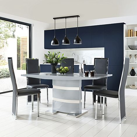 Komoro Grey High Gloss Dining Table with 4 Celeste Grey Leather Chairs