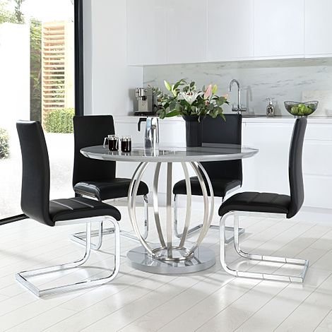 Savoy Round Grey High Gloss and Chrome Dining Table with 4 Perth Black Leather Chairs