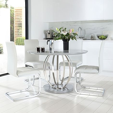 Savoy Round Grey High Gloss and Chrome Dining Table with 4 Perth White Leather Chairs