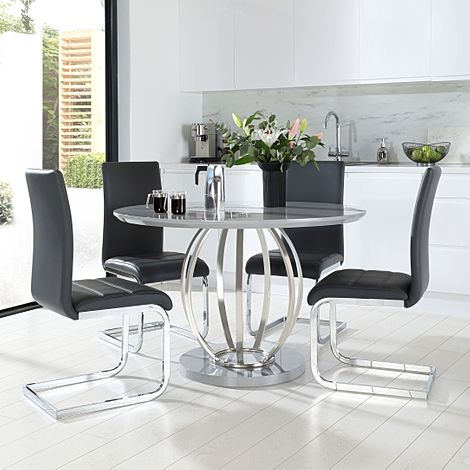 Savoy Round Grey High Gloss and Chrome Dining Table with 4 Perth Grey Leather Chairs