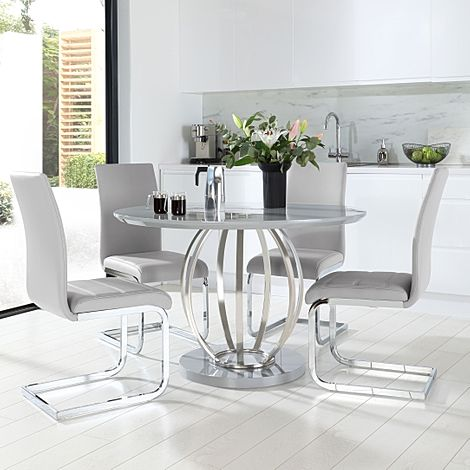 Savoy Round Grey High Gloss and Chrome Dining Table with 4 Perth Light Grey Leather Chairs