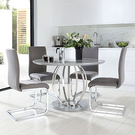 Savoy Round Grey High Gloss and Chrome Dining Table with 4 Perth Grey Velvet Chairs