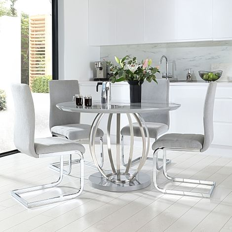 Savoy Round Grey High Gloss and Chrome Dining Table with 4 Perth Dove Grey Fabric Chairs