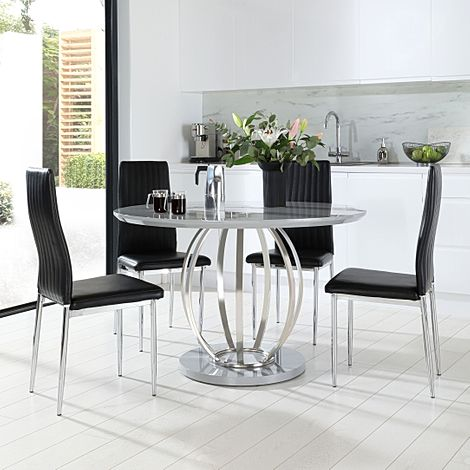 Savoy Round Grey High Gloss and Chrome Dining Table with 4 Leon Black Leather Chairs