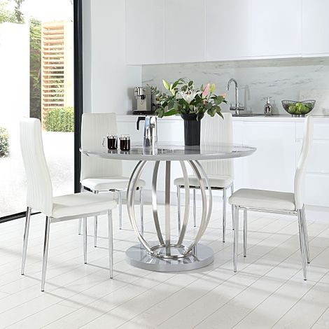 Savoy Round Grey High Gloss and Chrome Dining Table with 4 Leon White Leather Chairs