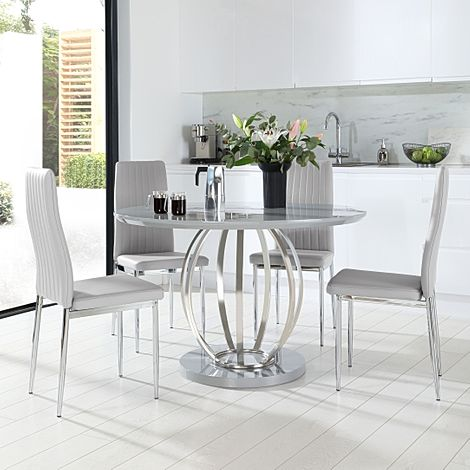 Savoy Round Grey High Gloss and Chrome Dining Table with 4 Leon Light Grey Leather Chairs