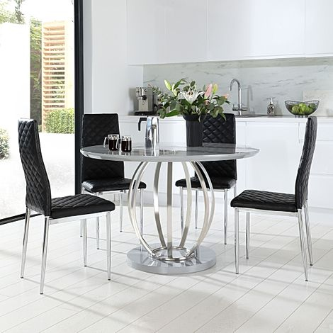 Savoy Round Grey High Gloss and Chrome Dining Table with 4 Renzo Black Leather Chairs