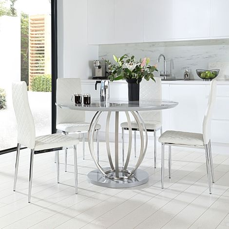 Savoy Round Grey High Gloss and Chrome Dining Table with 4 Renzo White Leather Chairs