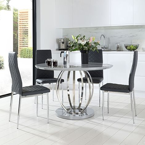 Savoy Round Grey High Gloss and Chrome Dining Table with 4 Renzo Grey Leather Chairs