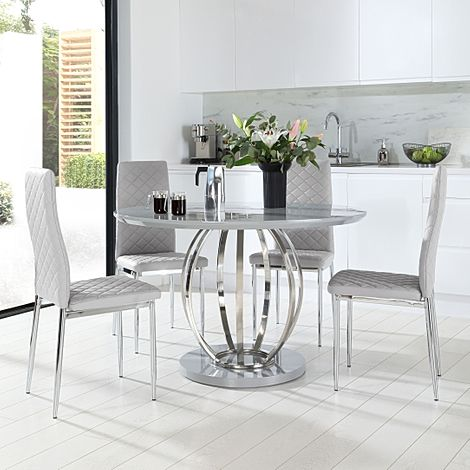 Savoy Round Grey High Gloss and Chrome Dining Table with 4 Renzo Light Grey Leather Chairs
