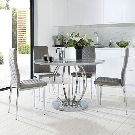 Savoy Round Grey High Gloss and Chrome Dining Table with 4 Renzo Grey Velvet Chairs