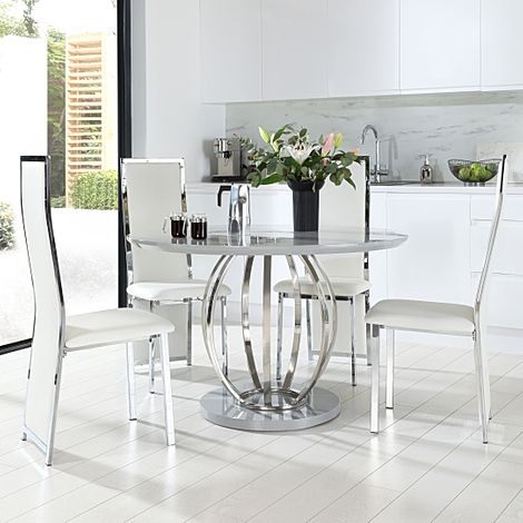 Savoy Round Grey High Gloss and Chrome Dining Table with 4 Celeste White Leather Chairs
