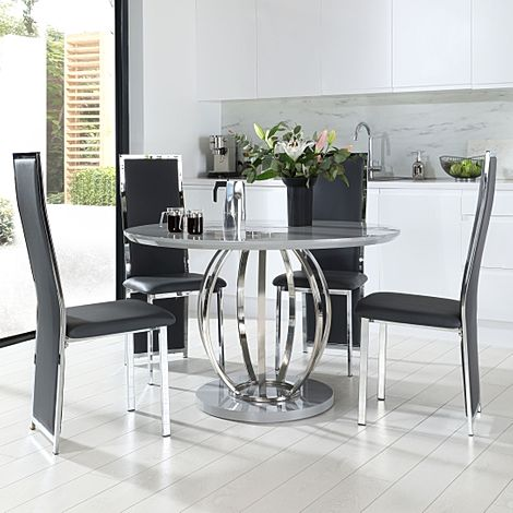 Savoy Round Grey High Gloss and Chrome Dining Table with 4 Celeste Grey Leather Chairs