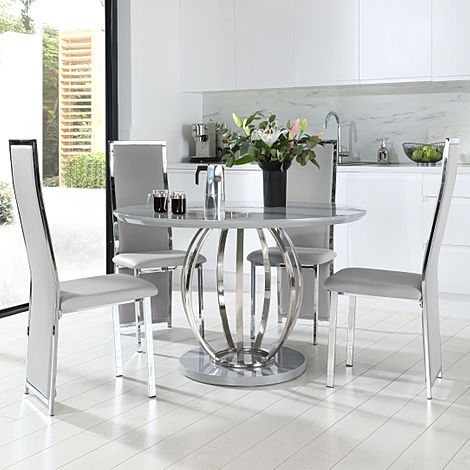 Savoy Round Grey High Gloss and Chrome Dining Table with 4 Celeste Light Grey Leather Chairs