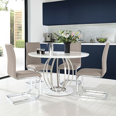 Savoy Round Grey High Gloss and Chrome Dining Table with 4 Perth Taupe Leather Chairs