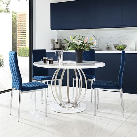 Savoy Round White High Gloss and Chrome Dining Table with 4 Renzo Blue Velvet Chairs