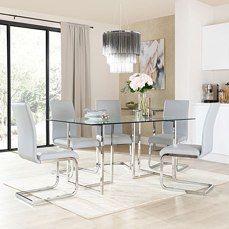 Lisbon Chrome and Glass Dining Table With 6 Perth Light Grey Leather Chairs