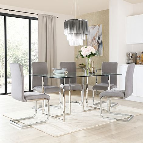 Lisbon Chrome and Glass Dining Table With 4 Perth Grey Velvet Chairs