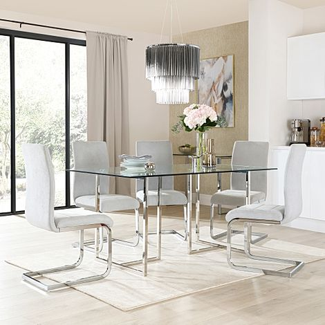 Lisbon Chrome and Glass Dining Table With 6 Perth Dove Grey Fabric Chairs